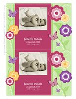 Cartes de faire-part de naissance avec photo (modèle fleurs)
