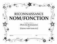 Certificat de reconnaissance (noir et blanc)