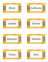 Carte avec nom ou marque-place (soleil et sable, 8/pg)
