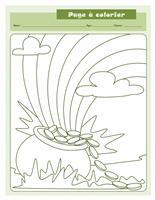 Feuille à colorier pour la Saint-Patrick (motif avec chaudron d'or)