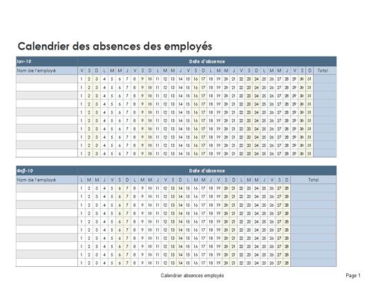 Calendrier des absences des employés 2010