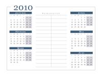 Calendrier 2010 (6 mois/page, lun-dim)