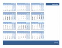 Calendrier 2010 avec espace pour notes (1 page, lun-dim)