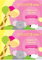 Carte d'invitation à un anniversaire (conception Enfant, 2 par page)