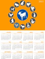Calendrier perpétuel avec les signes du zodiaque oriental (Lun-Dim)