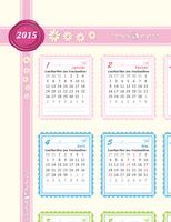 Calendrier de l'année 2015 (Lun-Dim)