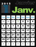 Calendrier annuel 2015 simple avec les jours feriés (Lun-Dim)
