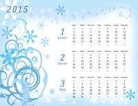 Calendrier 2015 trimestriel (Lun-Dim, design saisonnier)