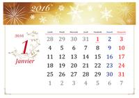 Calendrier annuel 2016 illustré avec jours fériés (design élégant, Lun-Dim)