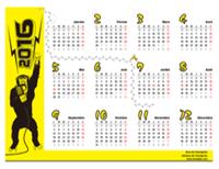 Calendrier annuel 2016 avec jours fériés (singe noir sur fond jaune, Lun-Dim)