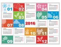 Calendrier annuel 2016 saisonnier coloré avec illustrations (Lun-Dim)