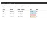Liste de tâches pour un projet en groupe
