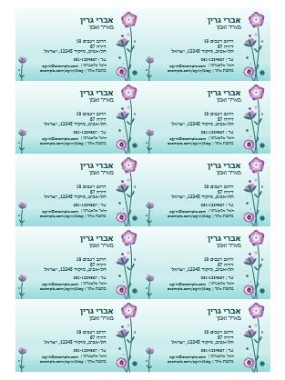 כרטיסי ביקור (איורי פרחים, 10 בעמוד)
