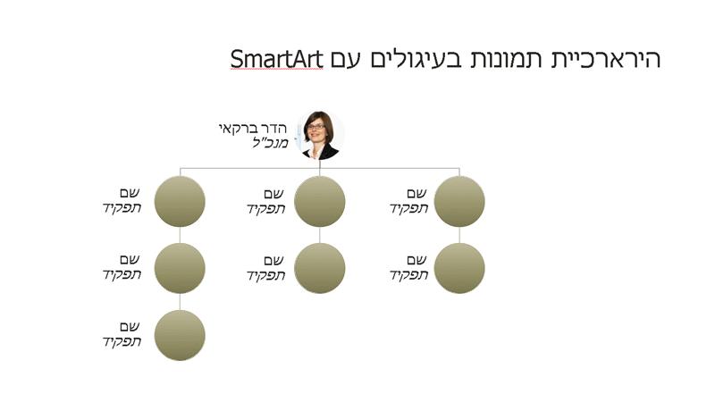 תרשים ארגוני בתמונה במעגל (מסך רחב)