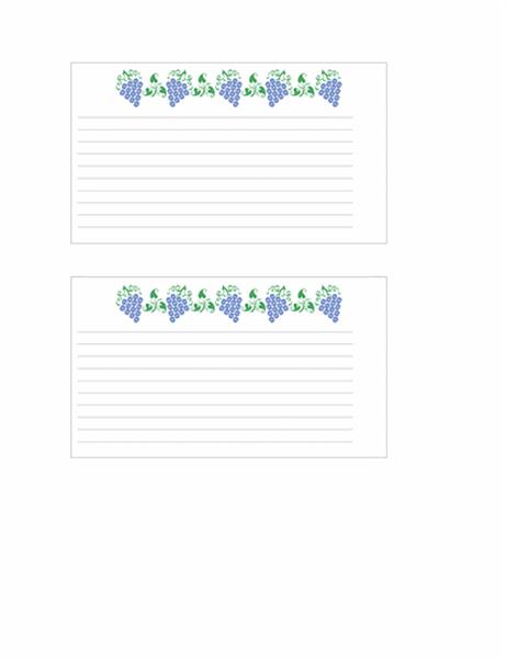 כרטיס מתכון (עיצוב ענבים)