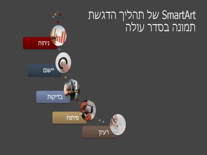 SmartArt של תהליך הדגשת תמונה בסדר עולה (רב-צבעי או אפור), מסך רחב