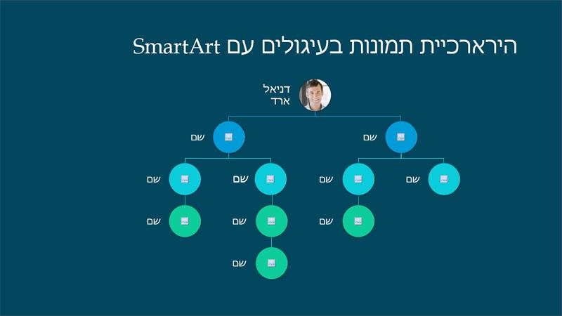 שקופית תרשים ארגוני עם הירארכיה ותמונות במעגל (לבן על כחול), מסך רחב