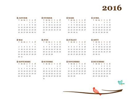 לוח שנה ל- 2016