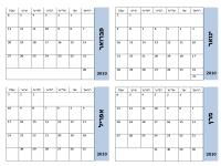 לוח שנה 2010 עם גבול כחול (3 עמודים, ראשון-שבת)