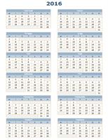 לוח שנה שנתי עבור 2016-2025