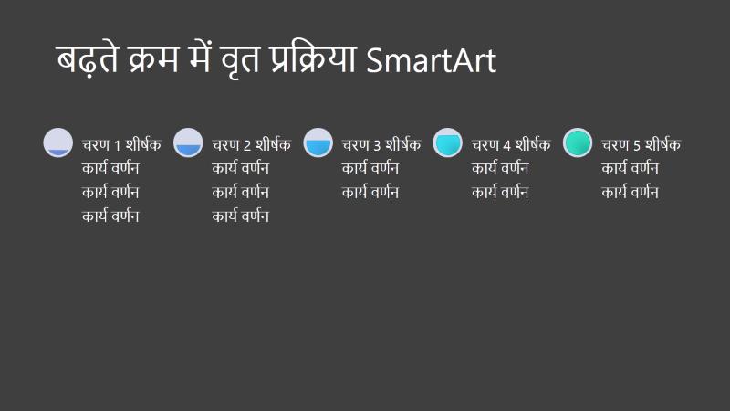 बढ़ती वृत्त प्रक्रिया SmartArt स्लाइड (काले पर धूसर और नीला ), वाइडस्क्रीन