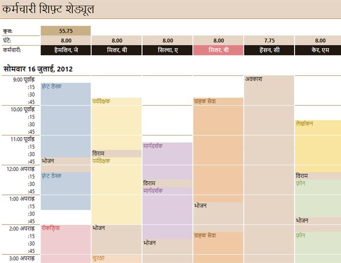 कर्मचारी पाली समय-सारणी