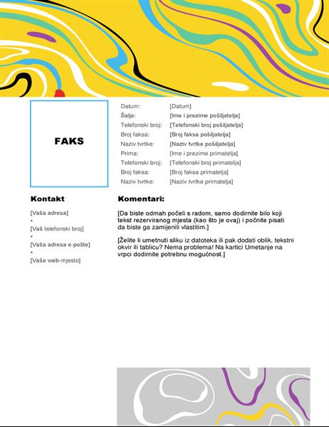 Naslovnica faksa s vrtlogom boja