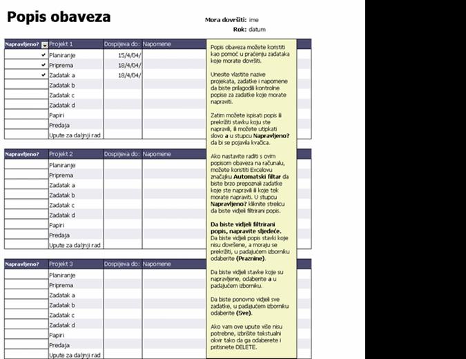 Popis obveza za projekte
