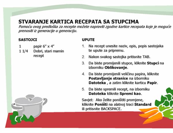 Kartica s receptima (više stupaca)