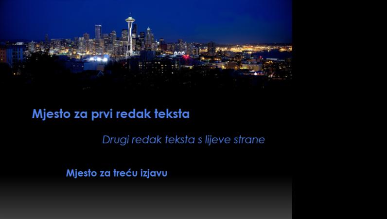Animirani natpisi koji se pomiču i mijenjaju boju iznad vizure Seattlea