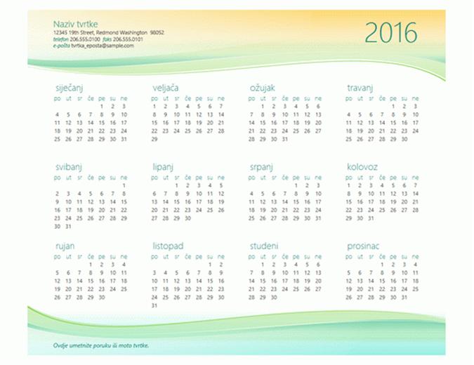 Mali poslovni kalendar (bilo koja godina)