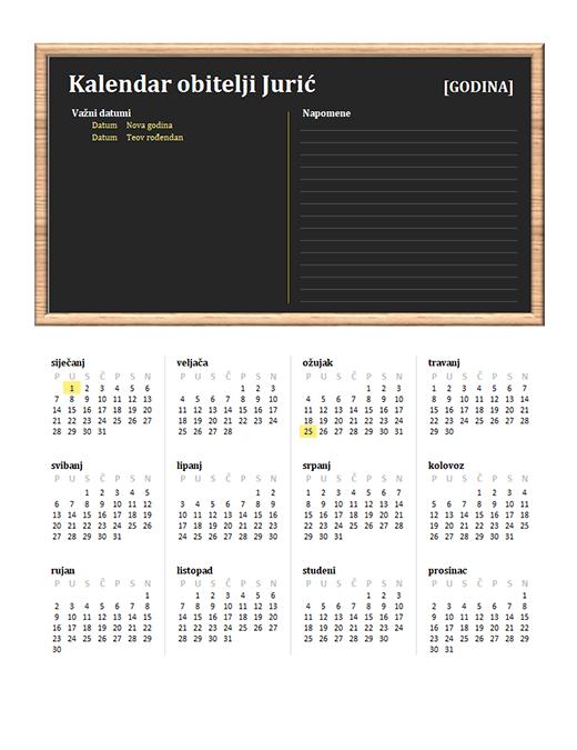 Obiteljski kalendar (bilo koja godina, od ponedjeljka do nedjelje)