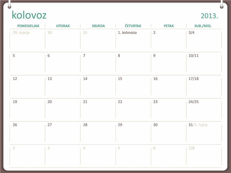 Kalendar za akademsku godinu 2013./2014. (kolovoz)