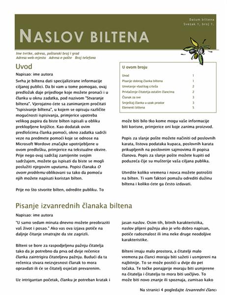 Poslovni bilten (2 stupca, 6 stranica, slanje poštom)