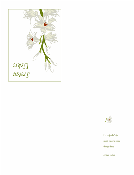 Uskršnja čestitka (s cvijećem)