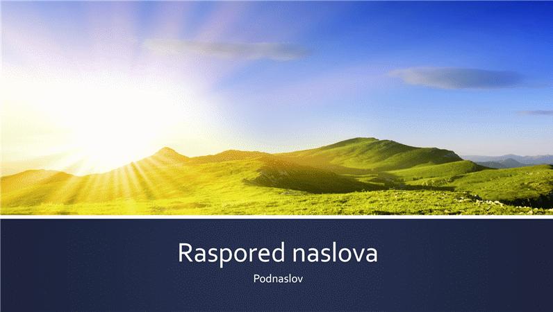 Prezentacija s plavim trakama i fotografijom izlaska sunca u planinama (široki zaslon)