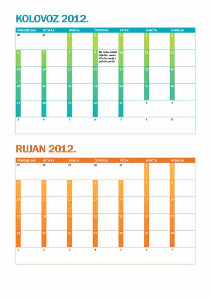 Akademski kalendar (od ponedjeljka do nedjelje)