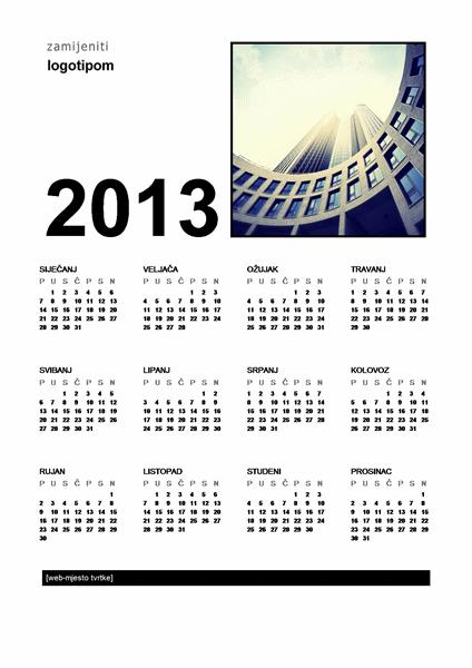 Kalendar (od ponedjeljka do nedjelje)
