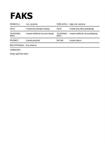 Podebljana naslovnica faksa