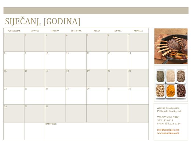 Kalendar s fotografijama (od ponedjeljka)