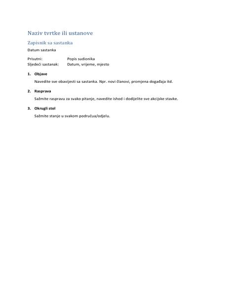 Bilješke sa sastanka (kratki oblik)