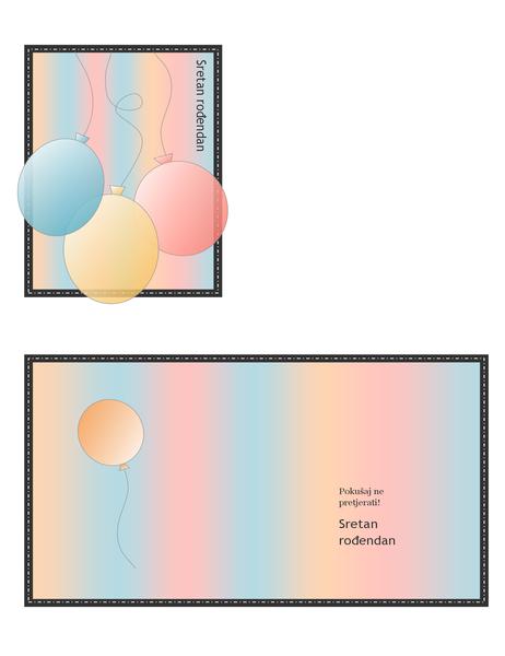 Rođendanska čestitka (s balonima i prugama, prijelom na četiri dijela)