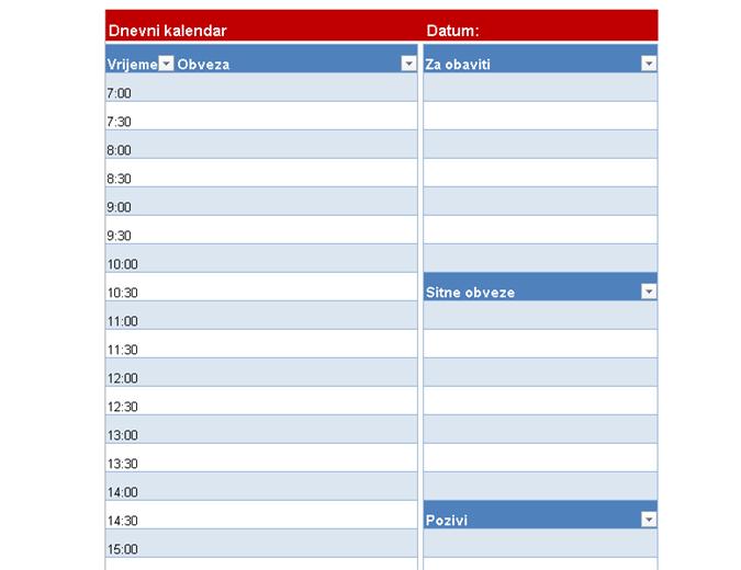 Prazan dnevni kalendar