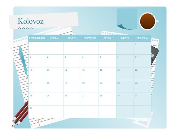 Kalendar za školsku godinu 2009 – 2010, kol – kol, pon – ned