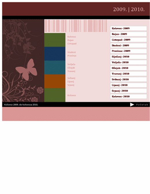 Kalendar za akademsku ili fiskalnu godinu 2009 – 2010, kol – kol, pon – ned