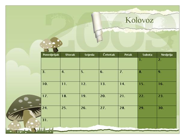 Kalendar za školsku godinu 2009. – 2010. (kol. – kol., pon. – ned.)