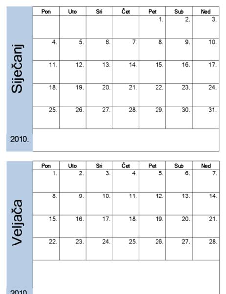 Kalendar za 2010. s plavim obrubom (6 po str.)