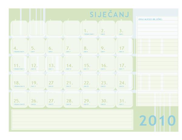 Julijanski kalendar za 2010