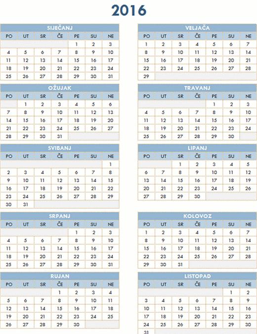 Godišnji kalendar za razdoblje 2016 – 2025