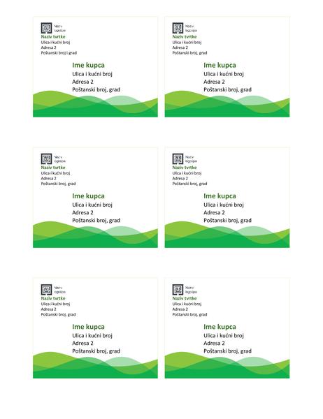 Naljepnice za otpremu (dizajn s motivom zelenog vala, 6 po stranici)